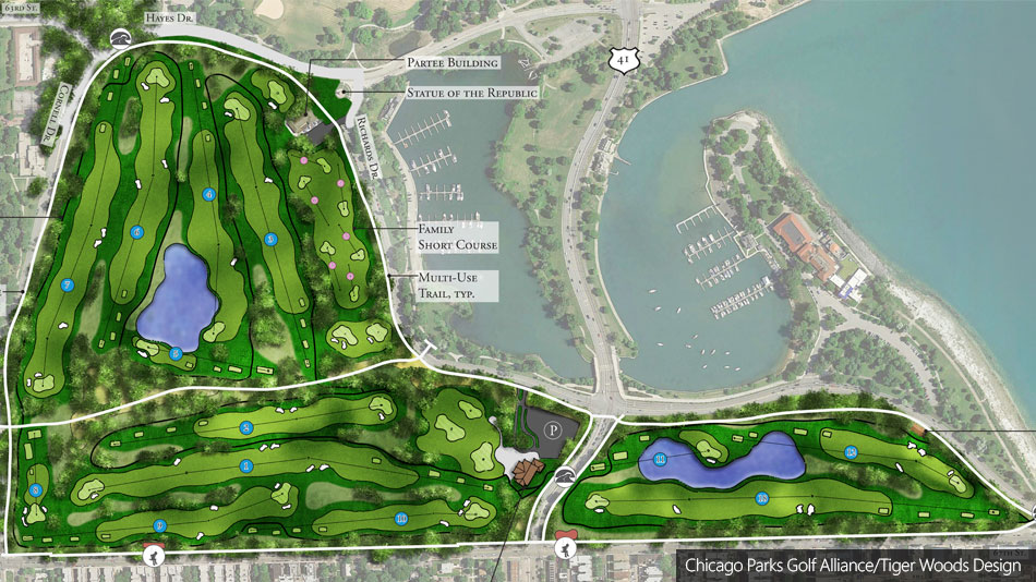 Revised layout unveiled for proposed Tiger Woods design in Chicago